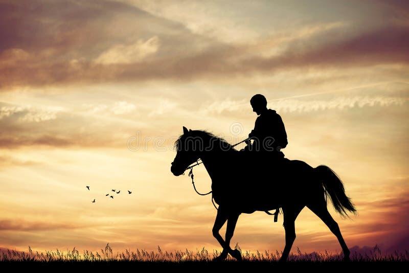 Человек на horseback бесплатная иллюстрация