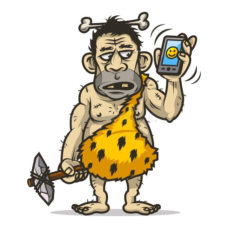 Человек неандерталца держит мобильный телефон иллюстрация вектора