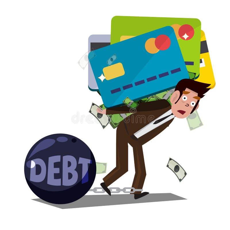 Человек нося огромную кредитную карточку с деньгами задолженность от кредитной карточки иллюстрация штока