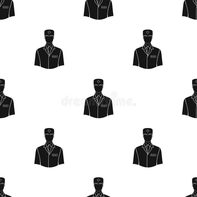 Человек доктор в форме Значок медицины одиночный в черной сети иллюстрации запаса символа вектора стиля иллюстрация вектора