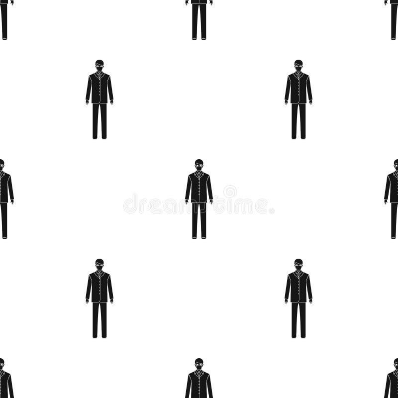 Человек доктор в форме и защитной маске Значок медицины одиночный в черном запасе символа вектора стиля иллюстрация штока