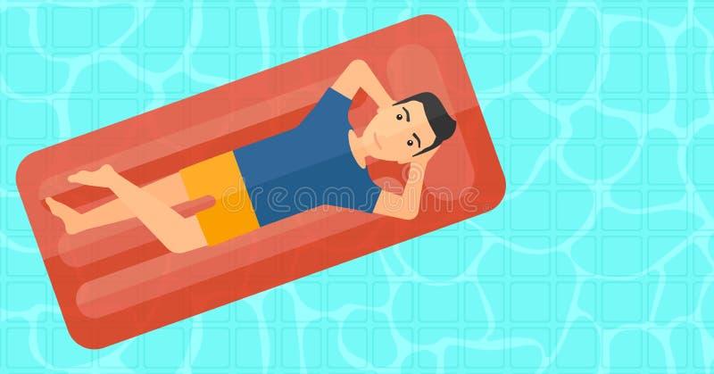 Человек ослабляя в бассейне бесплатная иллюстрация