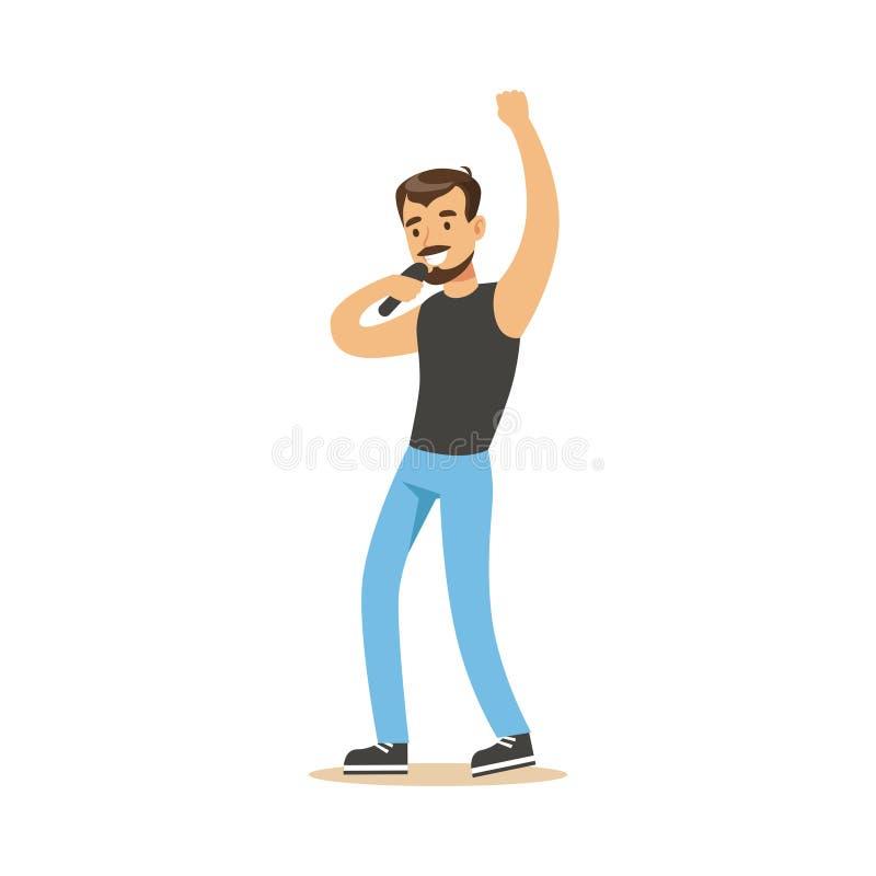 Человек певицы выполняя иллюстрацию вектора песни иллюстрация вектора