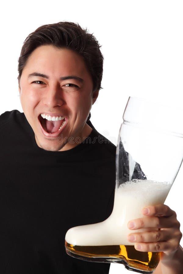 человек пива счастливый стоковые изображения rf