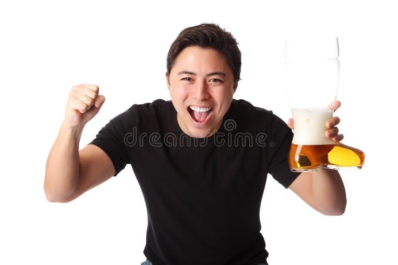 человек пива счастливый стоковые фотографии rf