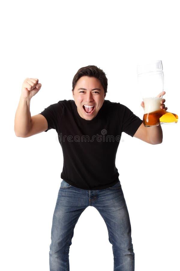 человек пива счастливый стоковое фото rf