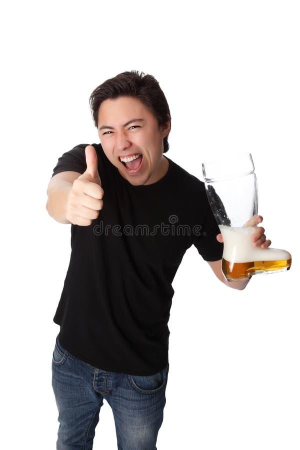 человек пива счастливый стоковое фото