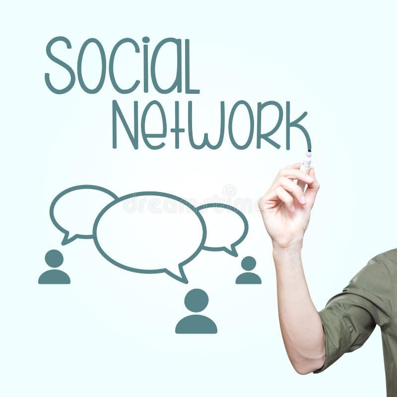 Человек писать социальное Networing стоковое изображение rf