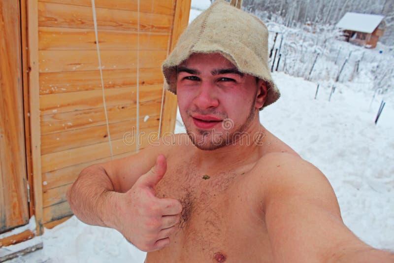 Человек после бани стоковое изображение rf