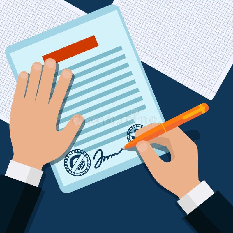 Человек подписывает ручку проштемпелеванную документом иллюстрация штока