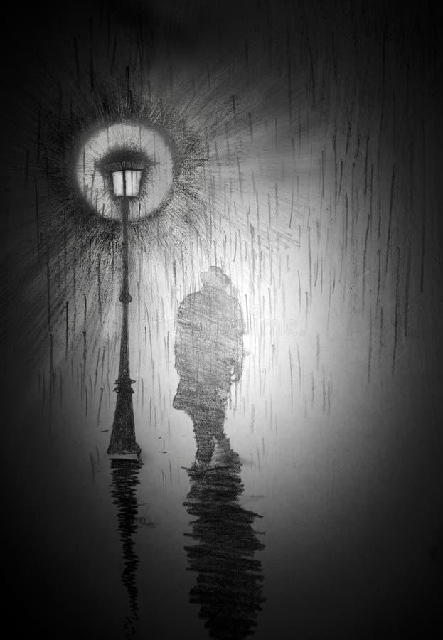 Человек под уличным фонарем иллюстрация вектора