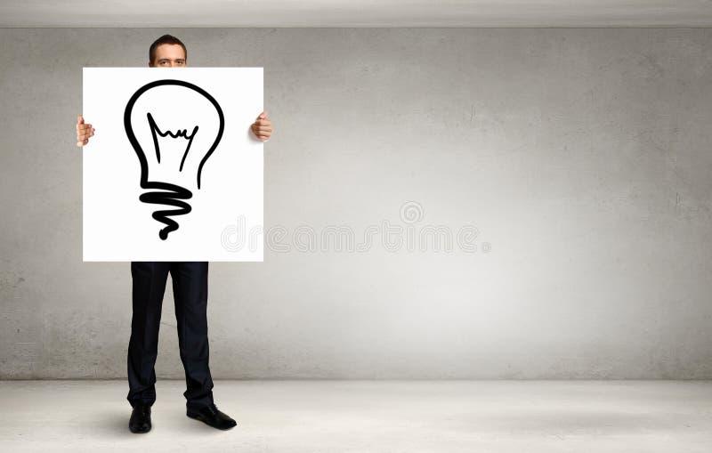 Человек представляя идею Мультимедиа стоковая фотография rf