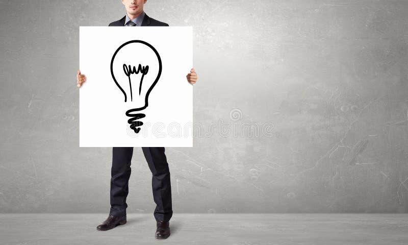 Человек представляя идею Мультимедиа стоковое фото