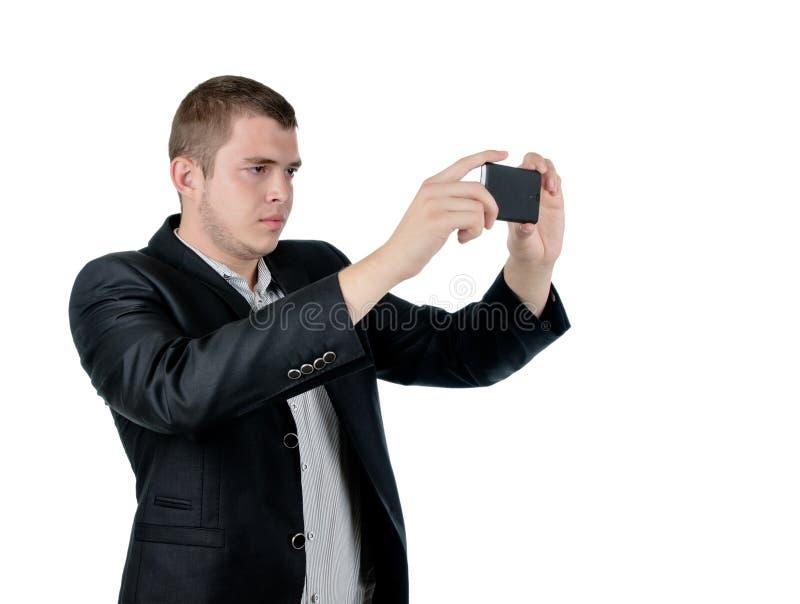 Человек принимая фотоснимок стоковое фото rf