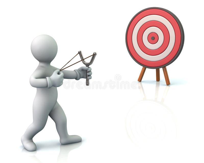 Человек принимая цель с рогаткой иллюстрация вектора