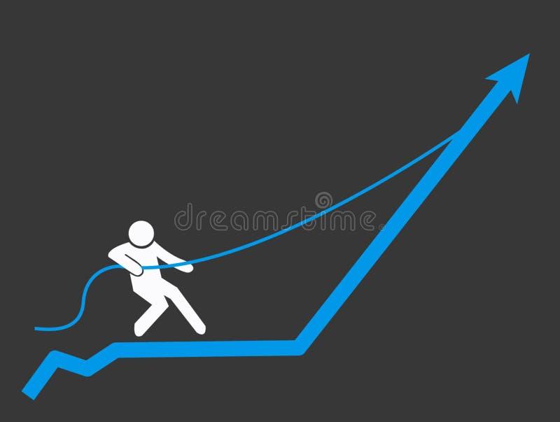Человек при веревочка вытягивая диаграмму стрелки составляет схему вверх Выгода и succes иллюстрация штока