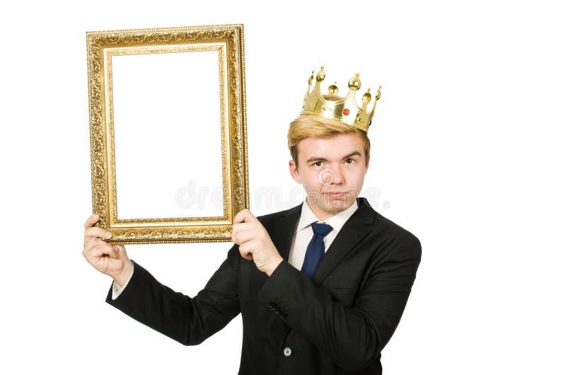 Человек при изолированная картинная рамка стоковая фотография