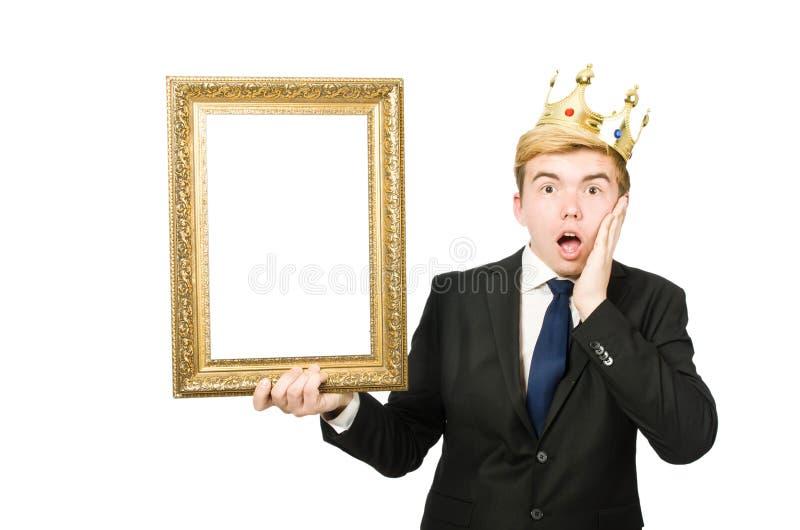 Человек при изолированная картинная рамка стоковые фото