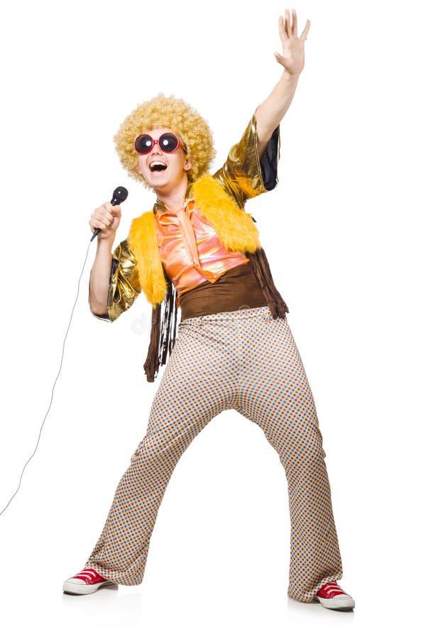 Человек при изолированные afrocut и mic стоковое изображение rf