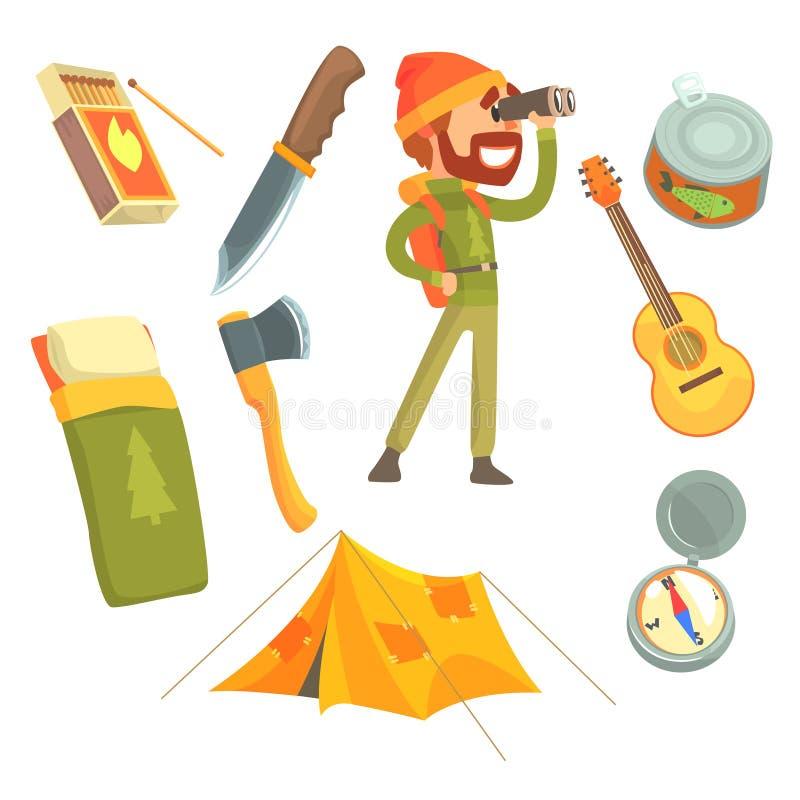 Человек при touristic рюкзак смотря через бинокли ся винограда оборудование Иллюстрации шаржа детальные иллюстрация штока