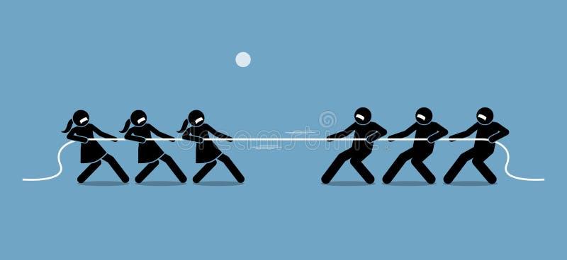 Человек против женщины в перетягивании каната бесплатная иллюстрация