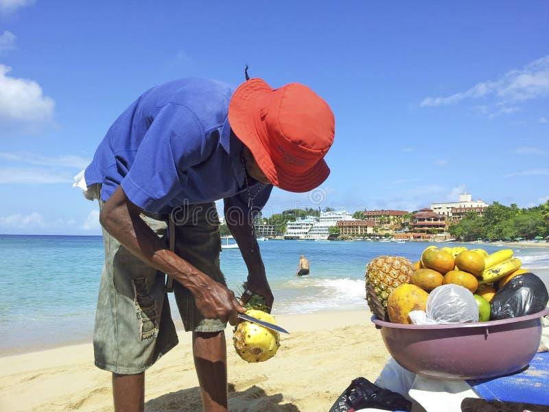 Человек продает ананас на пляже стоковое изображение