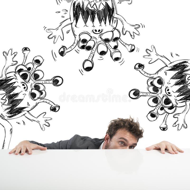 Человек прячет вирус стоковое фото rf