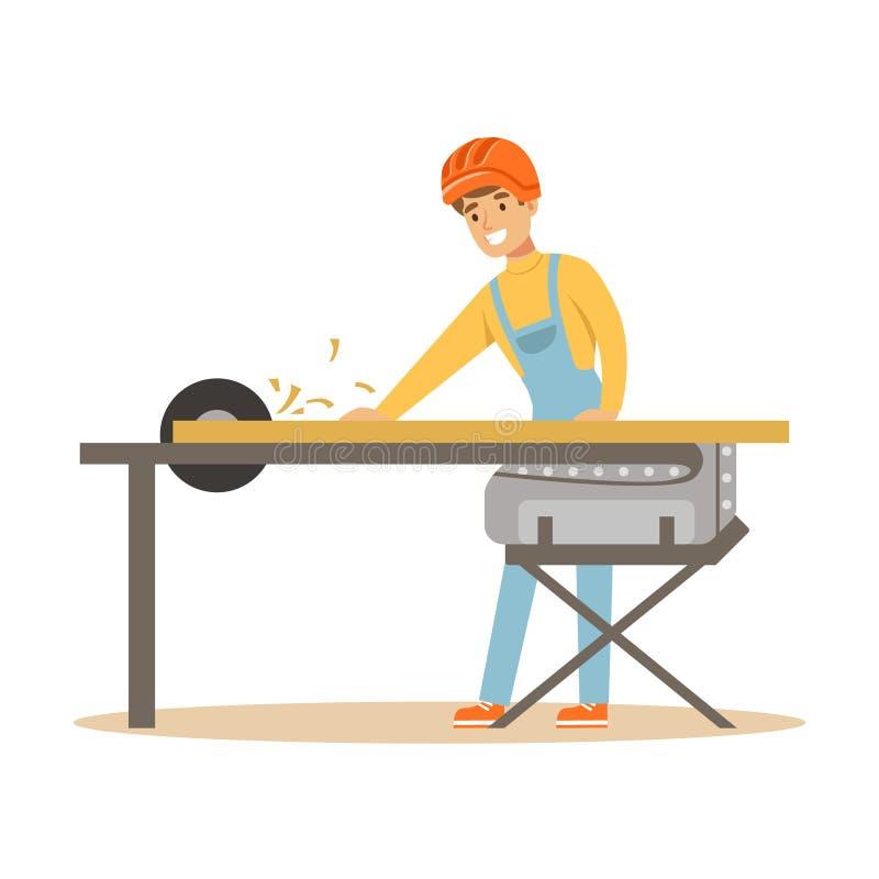 Человек плотника режа деревянную планку круглой пилой, профессиональной деревянной иллюстрацией вектора характера jointer бесплатная иллюстрация
