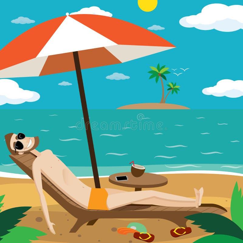 человек пляжа sunbathing иллюстрация вектора