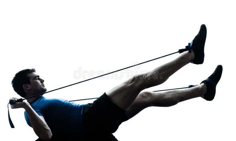 Человек работая силуэт позиции фитнеса разминки gymstick стоковые фотографии rf