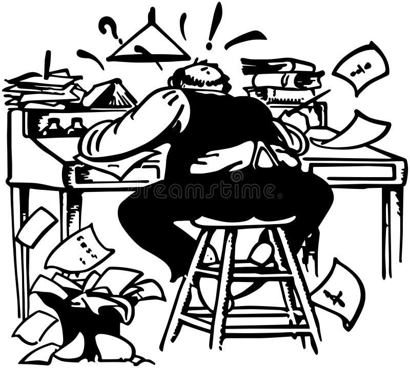 Человек работая сумашедше на столе иллюстрация штока
