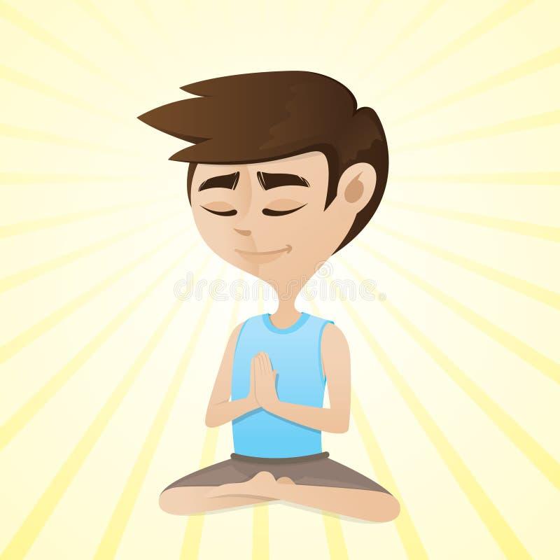 Человек размышляя в сидеть перекрестное шагающее положение бесплатная иллюстрация