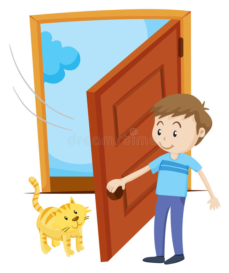 Человек раскрывает дверь для кота любимчика иллюстрация штока