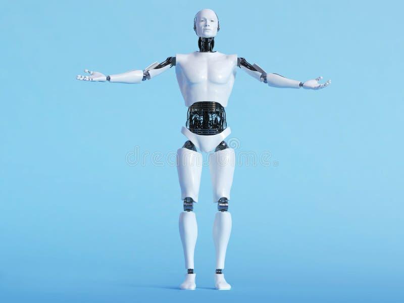 Человек робота в приветствующем представлении иллюстрация штока