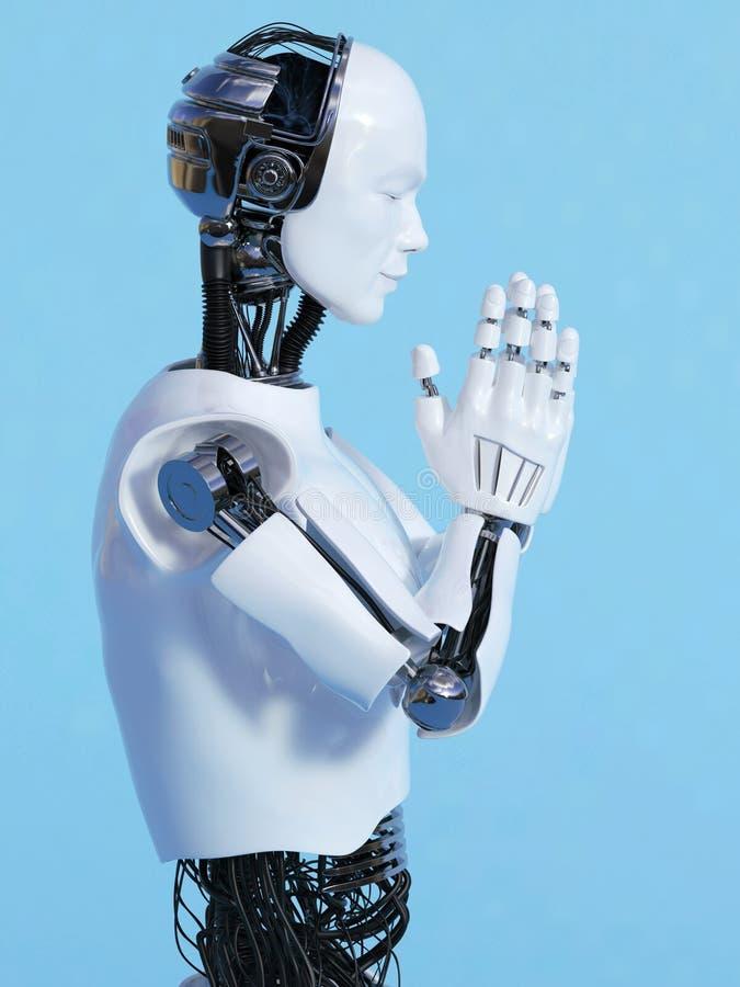Человек робота делая nr 3 namaste бесплатная иллюстрация
