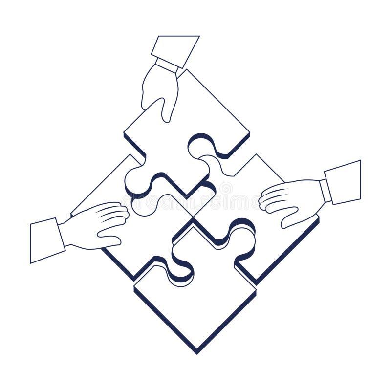 человек руки с головоломкой соединяет значок игры иллюстрация штока