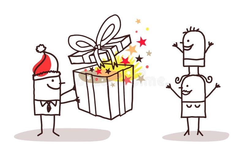 Человек Санты давая подарок на рождество к его семье иллюстрация вектора