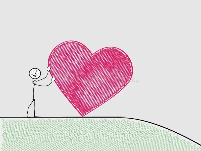 Человек свертывая сердце от холма бесплатная иллюстрация