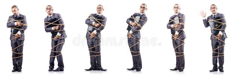 Человек связал вверх изолированный на белизне стоковое фото rf