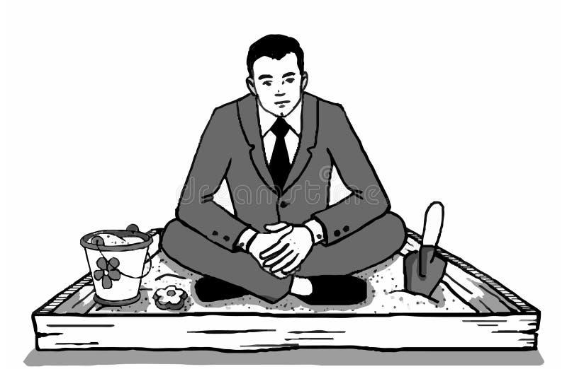 Человек сидит в ящике с песком иллюстрация вектора