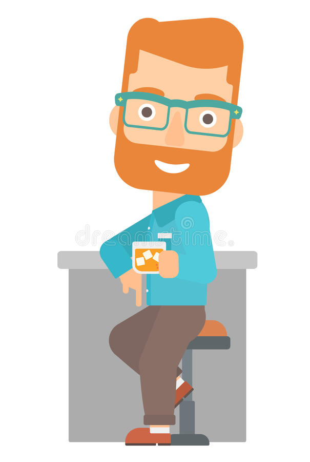 Человек сидя на баре иллюстрация вектора