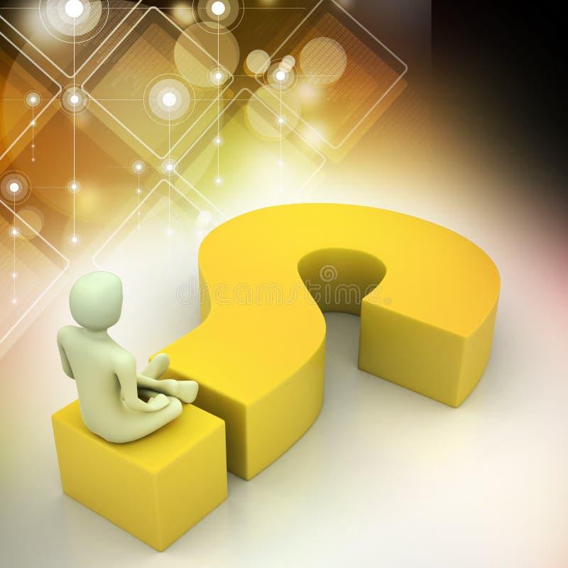Человек сидя на вопросительном знаке владение домашнего ключа принципиальной схемы дела золотистое достигая небо к бесплатная иллюстрация