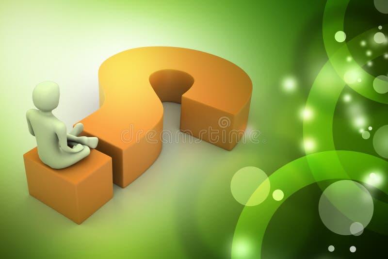 Человек сидя на вопросительном знаке владение домашнего ключа принципиальной схемы дела золотистое достигая небо к иллюстрация штока