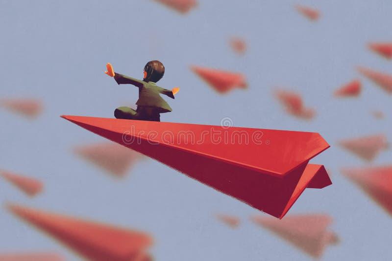 Человек сидя на красной бумаге самолета иллюстрация вектора