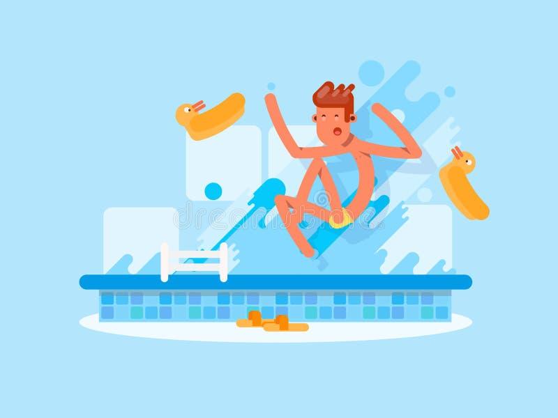 Человек скача в бассейн в плоском стиле стоковые изображения rf