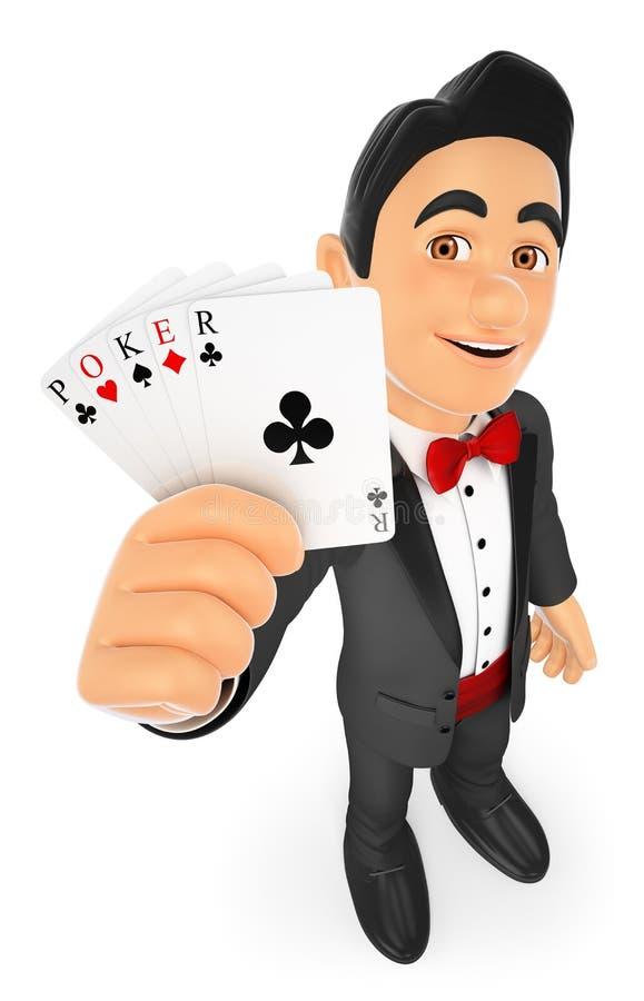человек смокинга 3D с карточками покера бесплатная иллюстрация