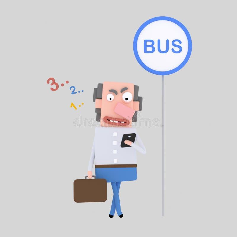 Человек смотря телефон на автобусной остановке стоковое изображение