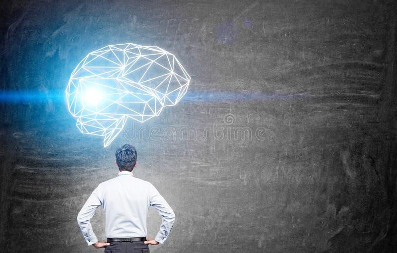 Человек смотря эскиз мозга стоковые фотографии rf