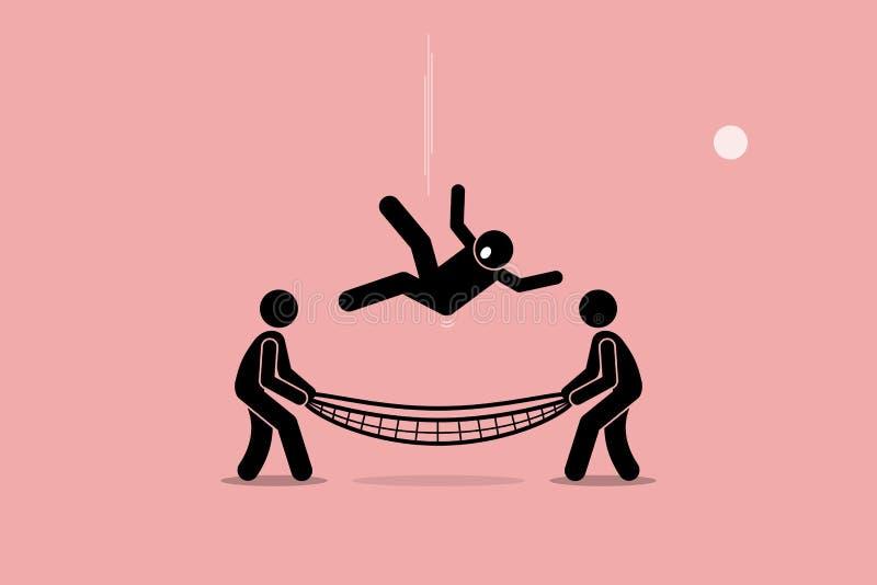 Человек сохраненный сетью безопасности бесплатная иллюстрация