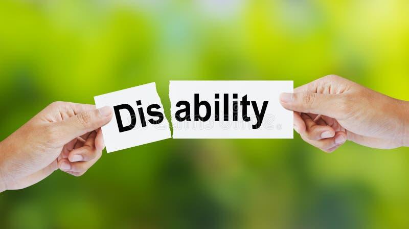 Человек срывая инвалидность слова для способности стоковые фотографии rf
